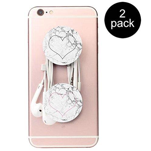 Erweiterbare Basis und Griff für Smartphones und Tablets- Marmor schwarz Rosa herz 2 Pack