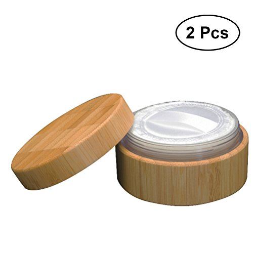 Frcolor 2 stücke 30 ml Leere Bambuspulver Fall Holz Kosmetikpulver Fall Make-up Schwamm Halter mit...