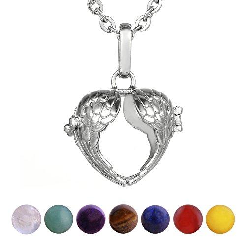 Morella Damen Halskette 70 cm Edelstahl mit Anhänger Herz Engelsflügel und 7 Edelsteinen Chakren-Kugeln in Schmuckbeutel