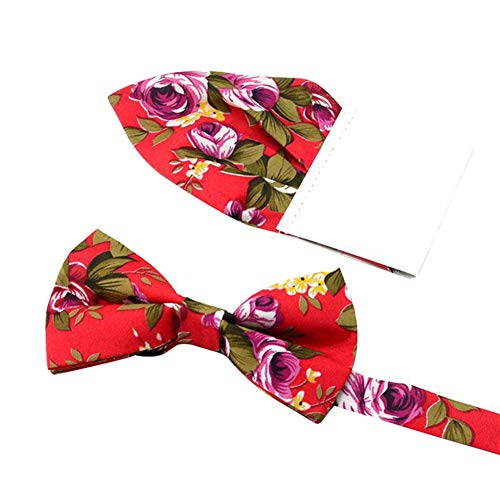 Gespout.1 Juego Hombres y Mujeres Moda Floral Pajarita Boda Novio Padrinos de Boda Arco Bolsillo Toalla Insertar Traje Traje Size 12 * 6CM (Red)