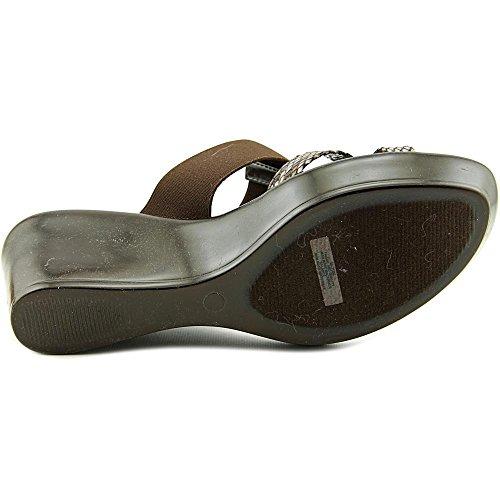 Easy Street Ascea Femmes Large Toile Sandales Compensés Brown-Grey