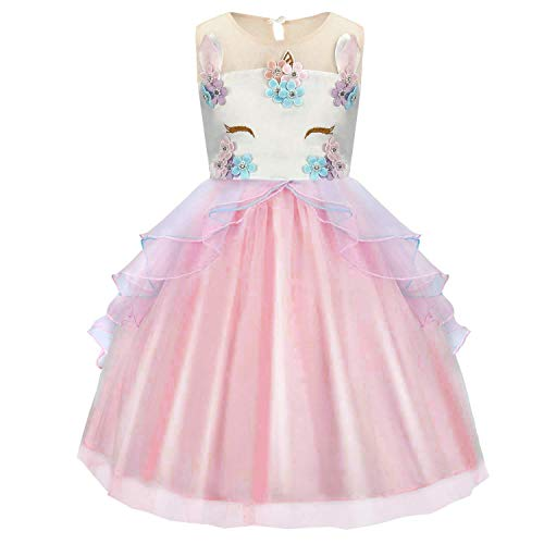 idesmaid Party Princess Prom Wedding Christening Dress Cosplay Party Tutu Skirt for Festival Performance Fancy Dress Fit for 6-7 years ()