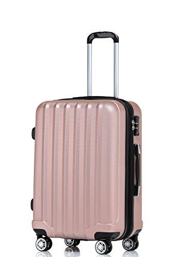 TSA-Schloß 2080 Hangepäck Zwillingsrollen neu Reisekoffer Koffer Trolley Hartschale XL-L-M(Boardcase) in 12 Farben (Rosa, L)
