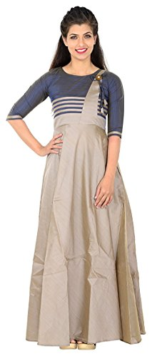 S R Fashion Womens Chiku Multi Fancy Full Stitched Long Gown for...