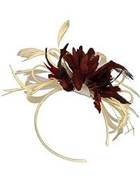 Crema marfil y Bugundy vino rojo neto boda pelo tocado de diadema de plumas de aro Royal Ascot Races