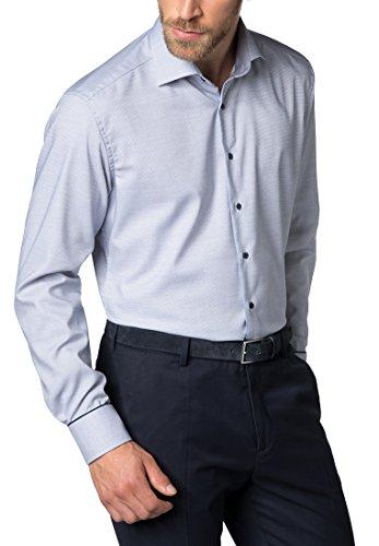 Eterna Long Sleeve Shirt Modern Fit Fancy Weave Structured Blu marino