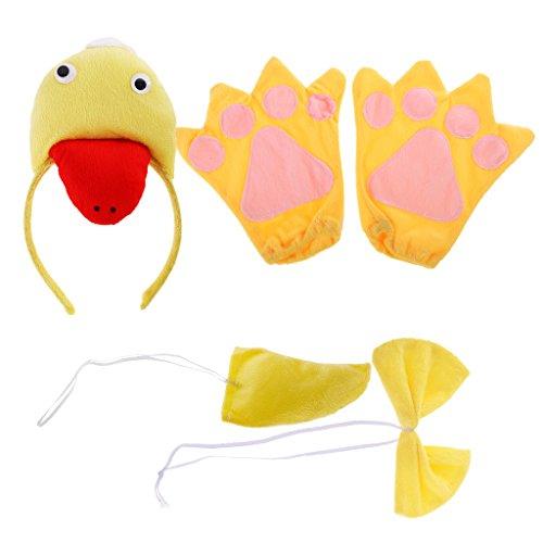 MagiDeal Kinder Tier Kostüm Set Halloween Stirnband Handschuh Fliege Schwanz Kostüm Accessoire Karnevalskostüme Tier - Ente