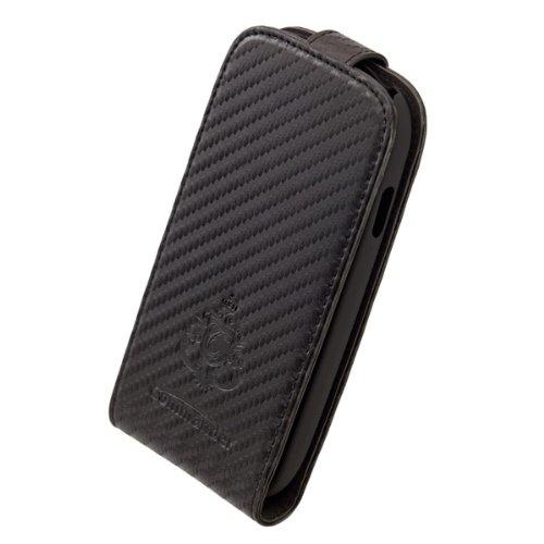 COMMANDER Designer exklusive Tasche Vertikal Holster PREMIUM DeLuxe Carbon Black für Samsung Galaxy S3 / S III Mini I8190 Lizenzprodukt PDA-Punkt Pda Holster