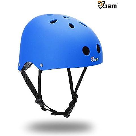 JBM Skating Casco Protección de seguridad para Multi-Sport Skateboarding Roller conducción Skating Inline Skating zweirädriges electrónico tarjeta bicicleta mountain bike, BMX MTB y otros deportes (Azul,