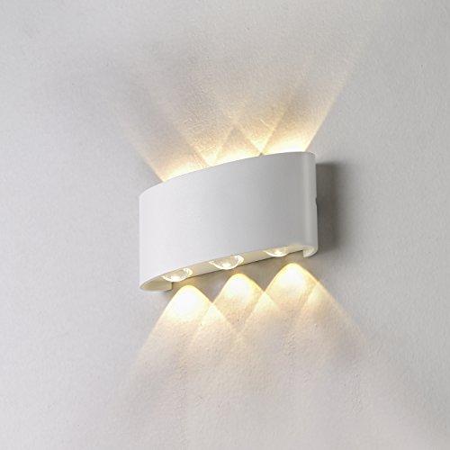 Topmo 6W LED Wandlampe Wasserdichte IP65 Wandbeleuchtung LED Außenwandleuchten 3000K(warmweiß)
