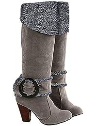 Minetom Mujer Otoño Invierno Rodilla Boots Tacón Alto Hebilla Botas Chunky Heel ...