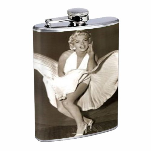 Marilyn Monroe Iconic Dress Up 8OZ Stainless Steel Flask D-082 by Perfection In ()