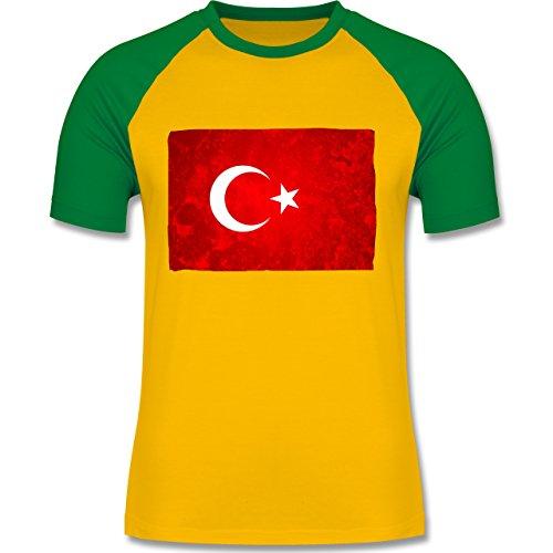 Länder - Flagge Türkei - zweifarbiges Baseballshirt für Männer Gelb/Grün