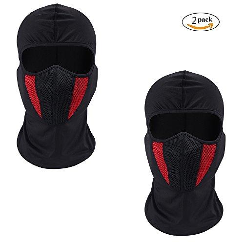 eclear 1Set Deportes al aire libre cuello máscara de media cara cascos moto conducción Riding Senderismo Viajar Snowboard ciclismo casco de esquí capucha para hombres mujeres, rojo