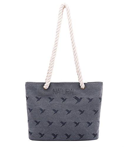 PB-SOAR Damen Mädchen Vintage Canvas Strandtasche Schultertasche Handtasche Shopper Einkaufstasche Freizeittasche, Tasche mit Vogel Muster (Blau) Dunkel Grau