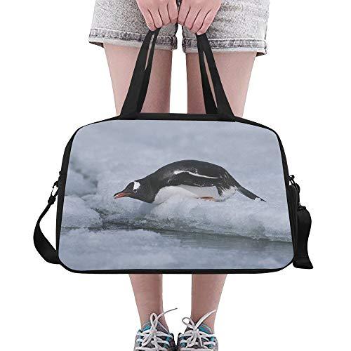 Reopx Netter Tierpinguin der großen Yoga Turnhallen Totes Eignungs Handtaschen Spielraum Seesack Schultergurt Schuh Beutel für das Übungs Sport Gepäck für Mädchen Mann Frauen im Freien schiebt