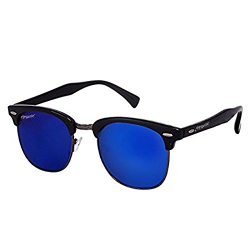 Elegante Mirrored Clubmaster Boy\'s Sunglasses (Avtclbgunblumer|55|Blue)