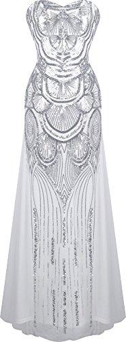 Angel-fashions Damen Paillette Tragerlos Schatz Gitter Schnuren Bankett-Kleid XXLarge Silber