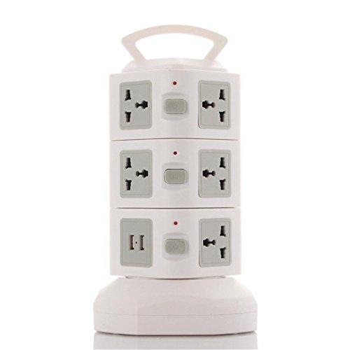 Überspannungsschutz Power Strip Vertical Tower Smart Multi Steckdose 2-USB Ladegerät Port Überlastschutz für Haus und Bürogeräte , grey
