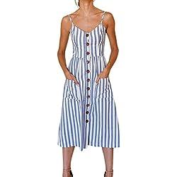 ❤️ Vestido a Rayas para Mujer,Vestido de Fiesta de los Botones de la Playa del Verano de Las señoras rayadas para Mujer de Las Vacaciones Absolute (L, Azul)