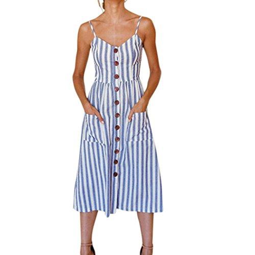 ❤️ Vestido a Rayas para Mujer,Vestido de Fiesta de los Botones de la Playa del Verano de Las señoras rayadas...