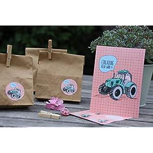SET 8 STÜCK personalisierte Einladungen zum Kindergeburtstag mit 8 Aufkleber für Mitgebseltüten für Eure Gastgeschenke - Traktor