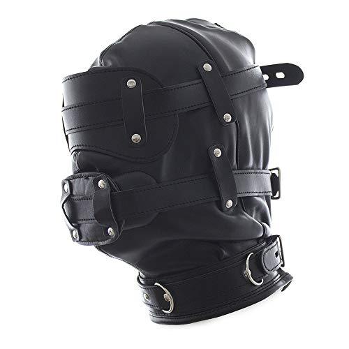 Leder Bondage Maske, Schwarz Geschlossen Maske Fetisch Dildo Penis Portsperre Cosplay Maske