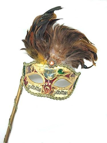 Musical Mardi Gras Masquerade Mask w/ Feather and Stick by Venetian (Masquerade Mask-sticks)