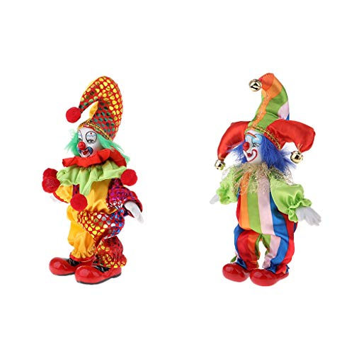 Baoblaze 2pcs 6 Zoll Mini Halloween Clown Puppe Kostüm Porzellanpuppe aus Porzellan & Stoff Dekoration (Kostüm Und Halloween-puppe Make-up)