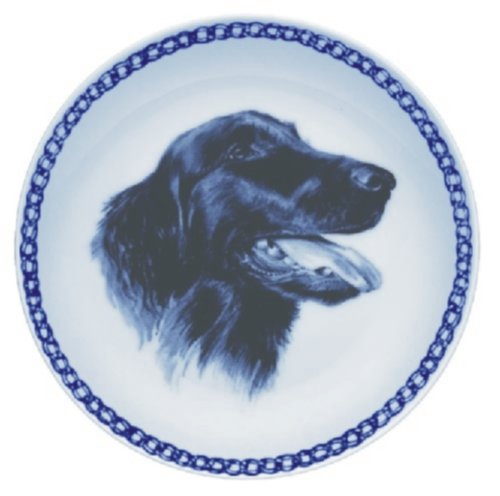 Flat-coated Retriever Lekven Design Dog Plate 19.5 cm /7.61 inches Made in Denmark NEW with certificate of origin PLATE #7533