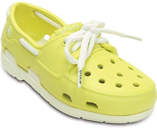 Crocs Beach Line Boat Shoe Kids Unisex chartreuse/white C10