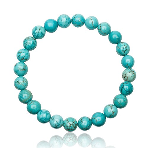Unique bracelet Perles Turquoise 8mm Grade AAA extensible one size fits all 16cm bis 21cm