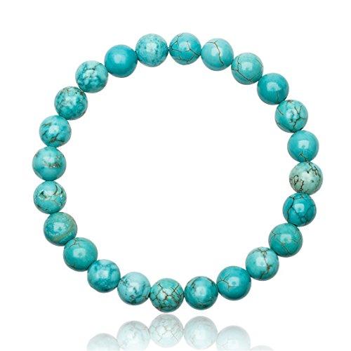 Unique Perlen Armband Unisex echter Türkis mit 8mm Grade AAA Perlen dehnbar one Size fits All 16cm bis 20cm - Armband Mit Türkis-perlen