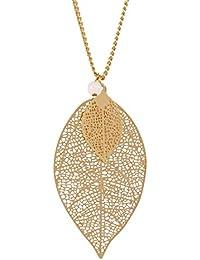 """SIX """"Basic"""" Damen Halskette, goldene Kette mit filigranen Blatt Anhängern, kleine weiße Perle (421-624)"""