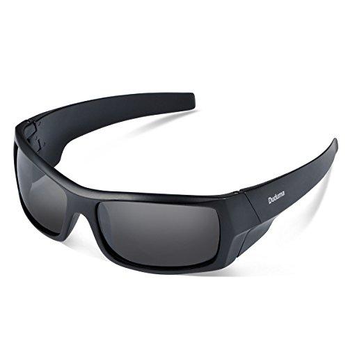 Duduma Gafas de Sol Deportivas Polarizadas Para Hombre Perfectas Para Esquiar Golf Correr Ciclismo TR601 Súper Liviana Para Hombre y Para Mujer (139 marco mate negro con lente negro)
