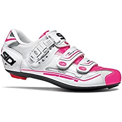 Sidi Genius 7–zapatos de ciclista Mujer Blanco/Rosa, unisex, 39