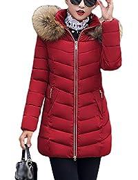 TianBin Cappotto Invernale da Donna Lungo Parka con Cappuccio Collo di Pelliccia  Sintetico Caldo Giubbotto 3957d5a4a86