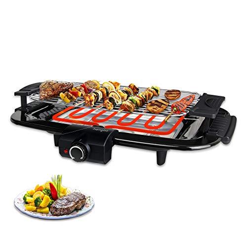 Elektrische Tischgrills Elektrogrill Barbecue mit Metall-Auffangschalen Cool Touch-Gehäuse, 2000W, Schwarz