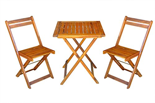 SSITG 3tlg Gartenset Balkonset Gartentisch Tisch Stuhl Akazienholz