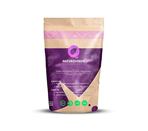 Naturquinoa | Concentrado de Quinoa en polvo Premium 100% natural | Quinoa sin gluten | Bolsa 500 gr de Quinoa, un sobre monodosis y una receta | Bolsa para 30 días