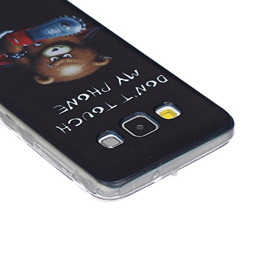 SainCat Coque Housse pour Samsung Galaxy A3(2015),Transparent Coque Silicone Etui Housse, Galaxy A3 Silicone Case Soft Gel Cover Anti-Scratch Transparent Case TPU Cover,Fonction Support Protection Com Chainsaw Ours