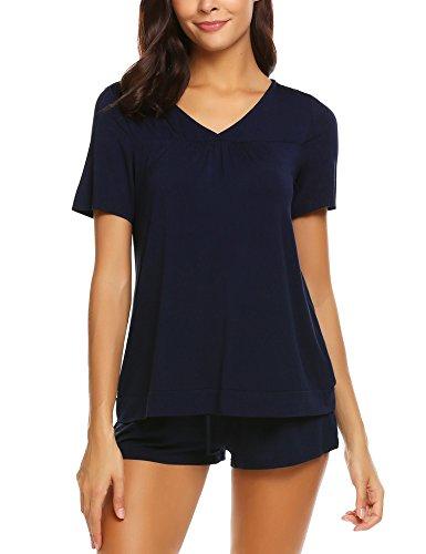 Skine Schlafanzüge Damen Sommer Modal Solid Nachtwäsche Kurz Set Soft V-Ausschnitt Sleepwear Kurzarm Top mit Shorts Pyjama Set (Damen Modal Pyjama-sets)