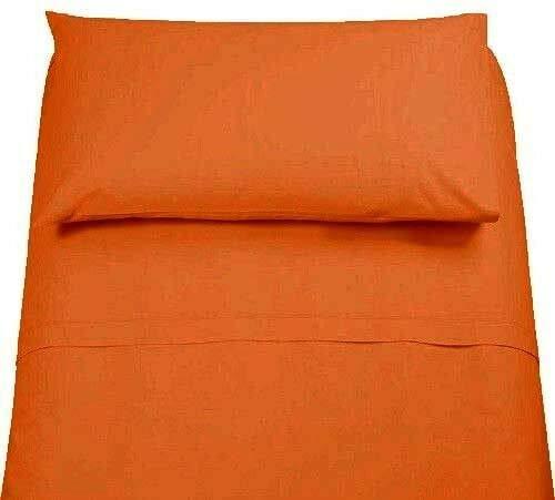 Demona spedizione gratuita set completo di lenzuola 100% cotone singolo tinta unita vari colori sottosopra + federa offerta (arancione)