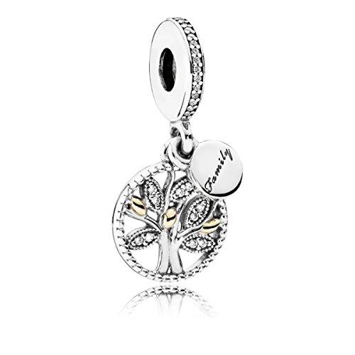 Pandora Damen-Charm Familien Stammbaum Silber vergoldet Zirkonia transparent Brillantschliff - 791728CZ (Amazon Schmuck Pandora Charms)