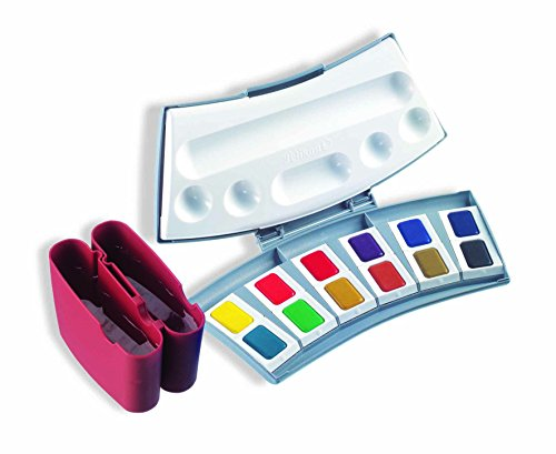 Pelikan 721886 Aquarellfarbkästen u.Ersatzfarben (Caran D'Ache) Aquarell-Malkasten 725D/12, Kunststoffkasten mit 12 Farben