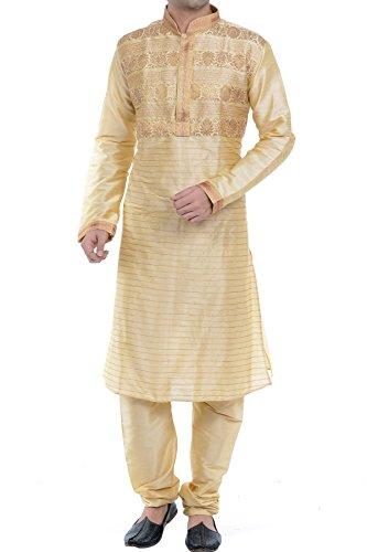 Vastramay Men's Golden Cotton Silk Kurta & Pyjama Set (Size: 44)