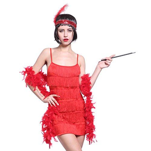 20er Rot Gr.S Fransen Flapper Kleider Fransenkleid Tanzkleid Charleston Kostuem mit Zigarrettenhalter,Kopfband