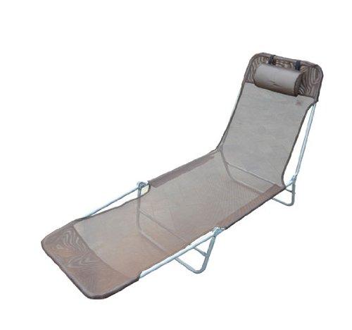 Homcom Chaise Longue Pliante Bain de Soleil inclinable transat textilene lit Jardin Plage Chocolat