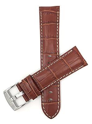 18mm - 26mm, Correa reloj de cuero auténtico, Aligator grano, hebilla de acero inoxidable, disponible en negro, azul, rojo, marrón rojizo y marrón