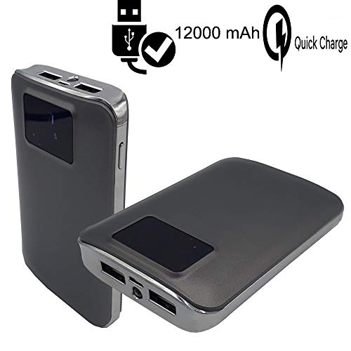MELELILYA® Tragbares Ladegerät 12000mAh Externe Batterie 2 USB-Anschlüsse mit Digital-LCD-Display und LED-Taschenlampe Power Bank kompatibel Obi Worldphone SF1, Samsung, PSP, HTC.